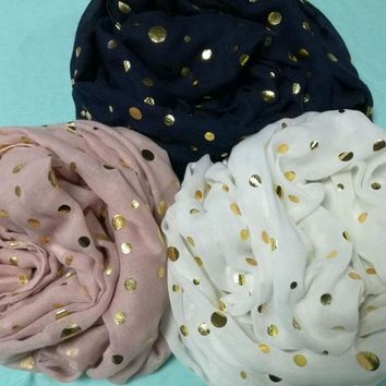 Free shipping ! Fashion dot with gold foil  infinity Scarf