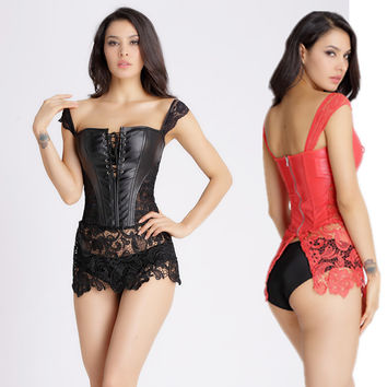 Hot sell Corsage Steampunk Leather Corset Dress Sexy Corsets and Bustiers with Zipper Gothic Bustier Plus Size Modeling Strap