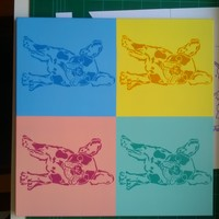 French Bulldog painting, pop art style