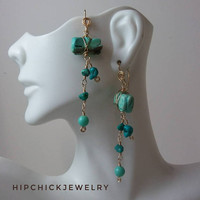 Turquoise animal fetish earrings in gold fill, dangle chain