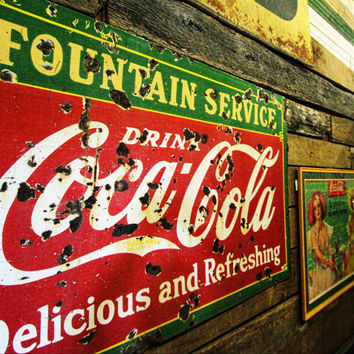 1930's Coca-Cola Porcelain Fountain Service Sign