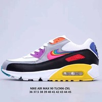 Free Shipping-Nike Air Max 90 BETRUE Rainbow logo classic casual running shoes