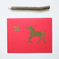 Holiday Horse card set (4), gold equine mistletoe christmas stationery