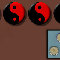 "YIN YANG Red and Black ZEN Symbol 4 hand made one inch 1"" Sew-On Shank Buttons"