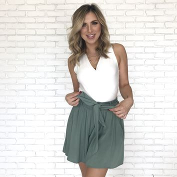 Take Our Time High Waist Shorts In Sage