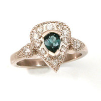 Palladium White Gold Engagement Ring - Art Deco - Diamonds and Blue Spinel