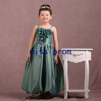 Tea-length taffeta with flowers ruffle pleated flower girl dress