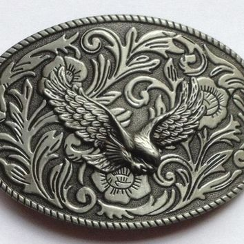 Floral 3D Flower Eagle Western Cowgirl&CowBoy Belt Buckle