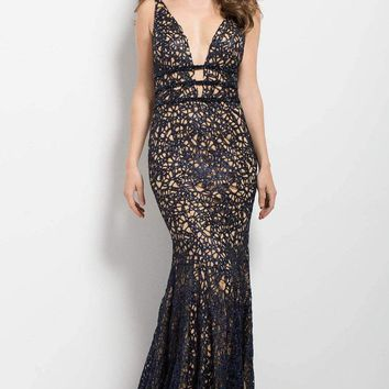 Jovani Deep V Lace Metallic Evening Dress 50923 1 pc Navynude in size 0 Available