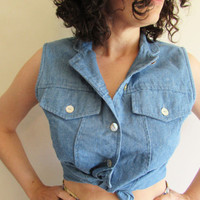 Cute Vintage Sleeveless Chambray Hipster/ Western/ Festival Button Up Top