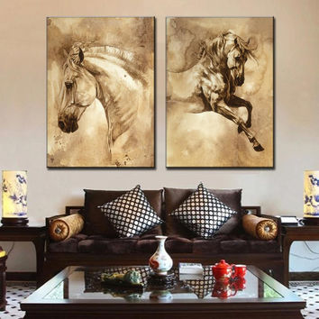 2 Pcs/Set Modern European Oil Painting Horse On Canvas Wall Art Picture  Wall Pi