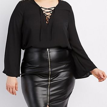 Plus Size Crochet-Inset Lace-Up Blouse