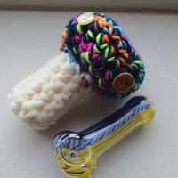 Mushroom pipe cozy ~ UV rainbow ~ protector, holder, pouch, stoner gift, made in Canada