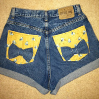 High waisted denim shorts with bows on back pockets