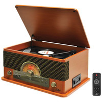 PYLE PRO PTCD56UBWD Retro-Style Bluetooth(R) Turntable with Vinyl to MP3 Recording, CD Player & Cassette Player (Wood Style)