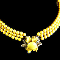 Multi Strand Necklace Yellow Bead and Enamel Flower 1950's Rhinestone Accent