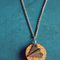 Silver Paper Airplane Essential Oil Diffuser Necklace from Walnut Wood