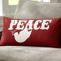 Peace Embroidered Applique Lumbar Pillow Cover