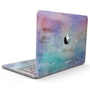 Blushed Blue to MInt 42 Absorbed Watercolor Texture - MacBook Pro with Touch Bar Skin Kit