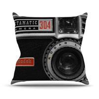 "Robin Dickinson ""Instamatic Red"" Black Gray Outdoor Throw Pillow"