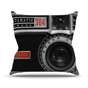"Robin Dickinson ""Instamatic Red"" Black Gray Throw Pillow"