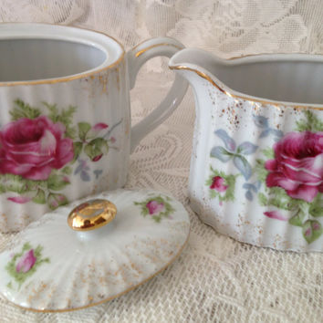 Lefton Hand Painted Roses Cream and Sugar Set Vintage 1950s Collectible China Rare K 2276