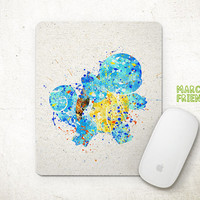 Squirtle Mouse Pad, Pocket Monster Watercolor Art, Mousepad, Office Deco, Holiday Gift, Art Print, Desk Decor, Pokemon Accessories