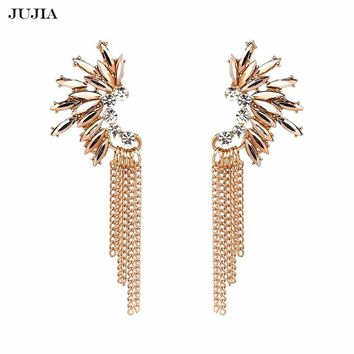 Exaggerate Women Statement Jewelry European Trendy Long Metal Crystal Tassel Drop Earrings Accessories Wholesale
