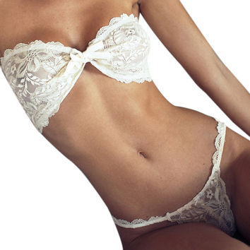 Sexy Lingerie Hot Strapless Bandage Bow Bra+G-String Lingerie Set Bound Hollow Out Women Lace Lingerie Sexy Costume u2