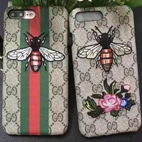 GUCCI Bee Embroidery iPhone Phone Cover Case For iphone 6 6s 6plus 6s-plus 7 7plus 8 8plus