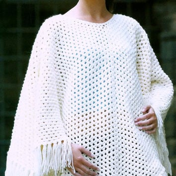 INSTANT DOWNLOAD PDF Vintage Crochet Pattern    Quick Fringed  Poncho  Cape Wrap Retro 1970s