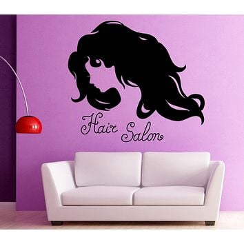 Vinyl Decal Silhouette Woman Face Long Wavy Hair Beauty Salon Wall Sticker n977