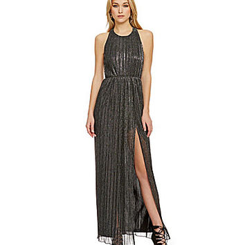 ABS by Allen Schwartz Crinkled Metallic Gown - Black