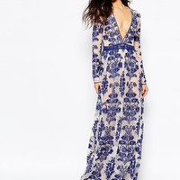 For Love and Lemons Temecula Embroidered Maxi Dress