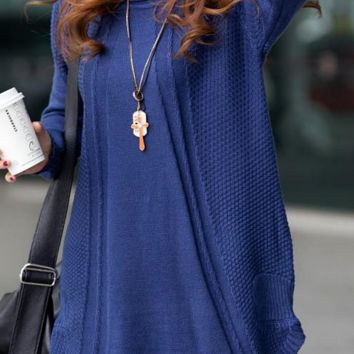 Casual Knit Sweater - Blue