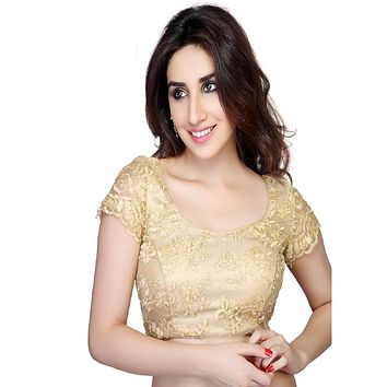 Designer Indian Traditional Gold Fancy Padded  Cap Sleeves Saree Blouse Choli (X-146)