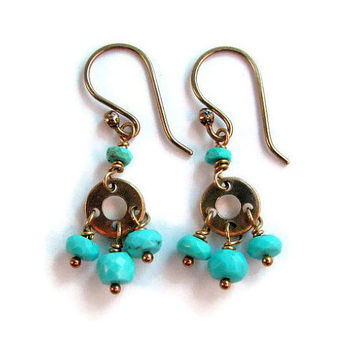 Genuine Arizona Turquoise Mini Chandelier Earrings in Bronze - Blue and Gold - Boho Chic Dangle Earrings - Modern Romance