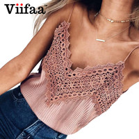 Viifaa Knitted Crop Tops Women 2017 Summer Lace Top Sexy V Neck Pink Tank Top Sleeveless Halter Camisole