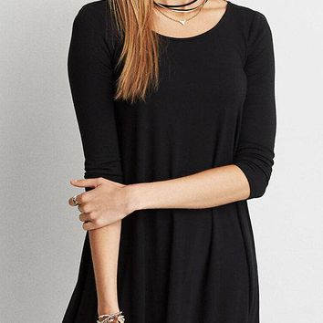 Black Lace-up Backless Half Sleeves Mini Dress