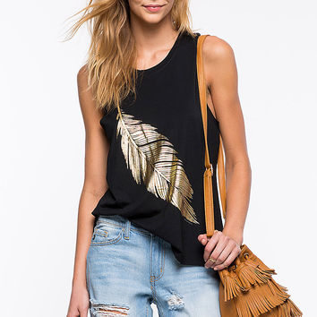 Feather Pattern Sleeveless Vest T-shirts [4966115972]