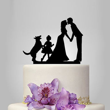 Funny wedding cake topper, family wedding cake topper with dog and little girl, german shepherd cake topper, rustic cake topper, vintage