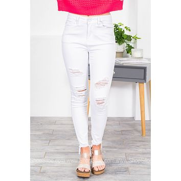 Ice Mid Rise Distressed White Denim