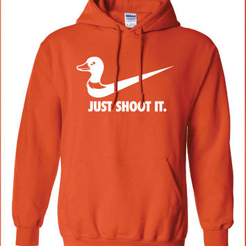 just shoot it hunting duck buck doe deer funny US hoodie hooded sweatshirt Mens Womens Ladies USA Canada wild wildlife moose turkey TD-213