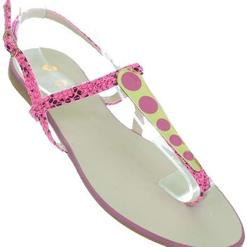 Pink Black Flip Flop Flat Sandal Women's Thong Shoes