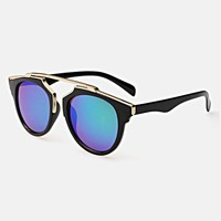 Mirrored Lense Sunglasses - Gold Metal Rim Black Sunglasses