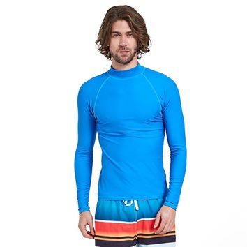 Sbart 1PC Blue Rash Guards Men Swimsuits Long Sleeves Male Swimwear Swimming Surfing Sailing Tops Beach Bathing Suits DDO