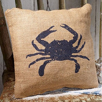 Blue Crab - Burlap Accent Pillow - 8-in x 8-in