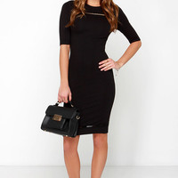 Recite Your Lines Black Bodycon Dress