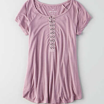 AEO Soft & Sexy Lace-Up T-Shirt , Orchid Bouquet