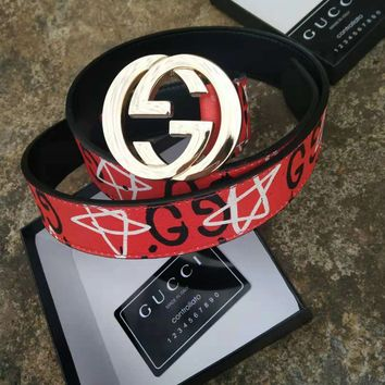 GUCCI Hot Sale Classic Fashion Man Women Smooth Buckle Belt Five-Pointed Star Print Leather Belt Red I/A